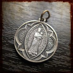 Antique Religious Silver Virgin Mary Notre Dame de la Garde medal - Vintage Souvenir pendant from France