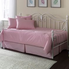 Awesome Metal Daybeds With Trundles And Pink Cushions