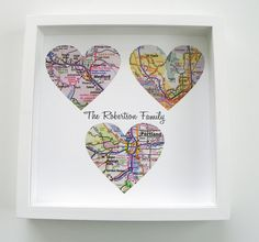 Gift for Dad Personalized Map Heart Art Gift FRAMED ART - Any Location Available- Father's Day Gift