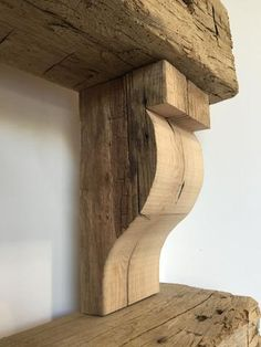 Reclaimed Barn Wood Hand Hewn Corbels, Mantel Beam Corbels, Antique Barrel Collection: If carpenter doesn't have enough wood for the corbels for the fireplace mantle, here is a source for corbels. Wood Mantle, Fireplace Mantle, Fireplace Shelves, Farmhouse Fireplace, Room Shelves, Rustic Farmhouse, Into The Woods, Woodworking Jigs, Woodworking Projects