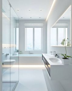 All white bathroom modern white bathroom modern ideas fanciful small decorating best bathrooms Modern White Bathroom, Modern Bathroom Design, Bathroom Interior Design, Modern Room, Bathroom Designs, Bath Design, Modern Design, Bathroom Ideas On A Budget Modern, Simple Home Design