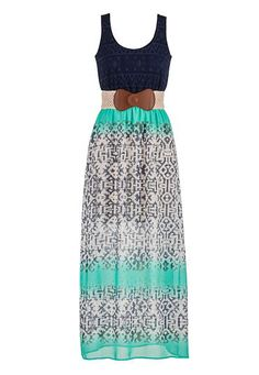 crochet top patterned chiffon maxi dress (original price, $44) available at #Maurices