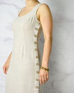 Natural Linen / Tencel / Rayon Blend Sheath Dress with image 7 Simple Kurta Designs, Kurta Designs Women, Kurti Neck Designs, Dress Neck Designs, Kurti Designs Party Wear, Blouse Designs, Latest Dress Design, Stylish Dress Designs, Designs For Dresses