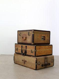 vintage luggage / striped wardrobe suitcase von 86home auf Etsy