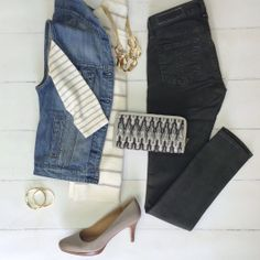 What to wear with your Empire Slate. Olive Denim, neutral sweater, denim vest, grey pumps, gold accessories <3