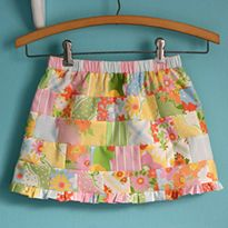 Dental Floss Patchwork Skirt Tutorial - mostly for the dental floss gathering method