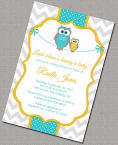 Neutral Baby Shower Invitation with Owls, Printable Yellow, turquoise and gray baby shower invite.