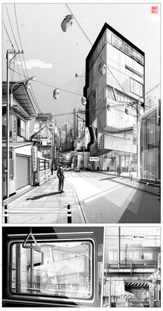 Tokyo Metropolis - Series of Architectural Illustrations.Using the medium of manga to visualize and promote a fictional project situated in Tokyo, Japan. These are only 2d-images, no 3d-software/model was involved.