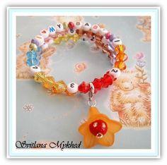 Bracelet d'allaitement `I Love My Baby` avec une breloque amovible (orange). : Puériculture par perles-et-couronnes