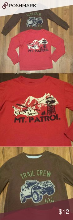 Bundle of Boys Shirts Brown with jeep is Sonoma brand from Kohls, sz M 5/6. The red is from The Children's Place, sz M 7/8. Both are in great used condition! Warm & cute with all types of pants for your little man! The Children's Place Shirts & Tops