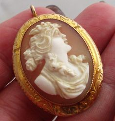 Edwardian 10k Yellow Gold High Relief Cameo Shell Brooch Pendant #Unknown