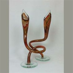 Jack in the Pulpit Candlestick Holders by Hudson Glass Glass Candlestick Holders, Glass Candlesticks, Candleholders, Michael Hudson, Jack In The Pulpit, Sculpting, Sculpture, Sculptures