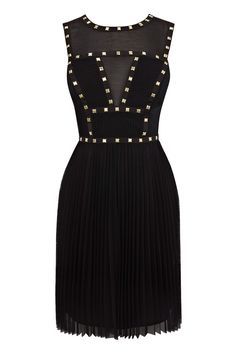 Black Studded Bodice Dress | Warehouse  I would love to try on this dress. It is amazing!