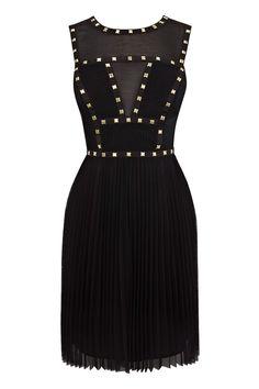 Black Studded Bodice Dress | Warehouse
