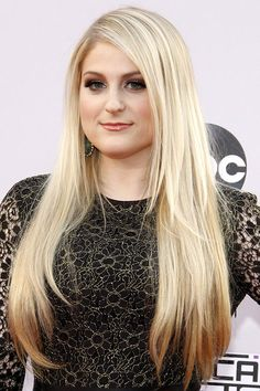 meghan trainor | Meghan Trainor Platinum Blonde Long Layers Hairstyle | Steal Her Style