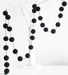 Black Felt ball Garland Black Pom pom garland by MKKidsInteriors