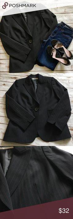 Tahari- Stunning Black w/Pinstripes Blazer Tahari gorgeous black with pinstripes blazer. Women's size 8 petite. Would be gorgeous dressed up with a pencil skirt and heels, or dressed slightly more casual with skinny jeans and heels. In fantastic preowned condition. Please be sure to check out all of my other boutique items to bundle and save. Same day or next business day shipping is guaranteed. Reasonable offers will be considered! Tahari Jackets & Coats Blazers