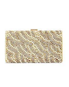 Kate Landry Social Pearl Stone Clutch Gold