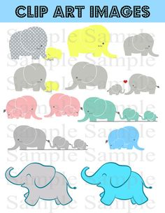 Baby Elephants INSTANT DOWNLOAD elephant clip art graphics, digital clipart baby personal and commercial use Baby Shower Elephants Clip Art
