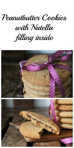 Peanutbutter Cookies with Nutella filling inside. Both chewy and crunchy at the same time.