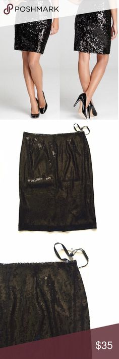 """NWT Calvin Klein black sequin pencil skirt Item: NWT Calvin Klein black sequin pencil skirt. Stunning and so many ways to dress it up or down . . Size: 4 . Measurements: waist 14""""across hips 19""""across length 22"""" Calvin Klein Skirts Pencil"""