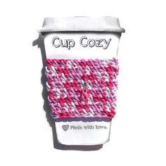 Crochet Coffee Cozy in Shades of Pink with Removable Pink Breast Cancer Awareness Ribbon Talisman Travel Mug Sleeve, Can Koozie, Eco Friendly Breast Cancer Gifts, Breast Cancer Support, Breast Cancer Awareness, Crochet Coffee Cozy, Crochet Geek, Awareness Ribbons, Coffee Travel, Shades, Eco Friendly
