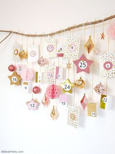 Pink & Copper DIY Advent Calendar - learn to craft this easy and super pretty hanging calendar to decorate and embellish your home for Christmas! Pink Christmas, Christmas Origami, Christmas Sewing, Rustic Christmas, Christmas Holidays, Christmas Crafts, Christmas Decorations, Christmas Ornaments, Christmas Tables