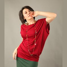 DIVA Red blouse with asymmetrical sleeves by Comfortissimo on Etsy, $35.00