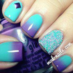 blue purple ombre nails <3 more on Bombastic Nail art