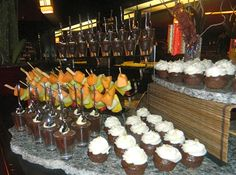 This was a recent event in West Hollywood for a premier.  We did appetizers and a dessert bar.  For dessert...Chocolate Whiskey Mousse Shots, Mini Ginger Cakes with Cream Cheese Frosting and Mini Ice Cream Cones. #EventPlanning #Catering #Caterer