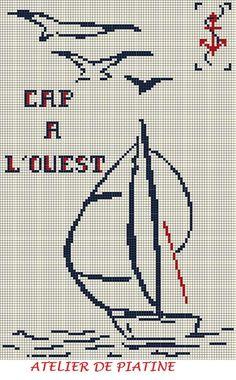 grille broderie CAP A L OUEST Plus Quilt Stitching, Cross Stitching, Cross Stitch Embroidery, Cross Stitch Designs, Cross Stitch Patterns, Cross Stitch Sea, Christmas Embroidery Patterns, Cross Stitch Landscape, Batik Art