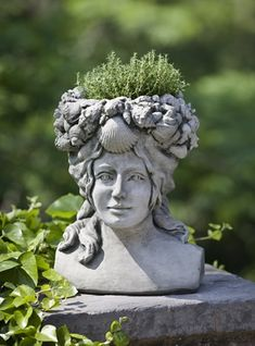 Lend sea-inspired charm to your landscape or garden with the Campania International Williamsburg Orabelle Cast Stone Planter . Crafted from concrete,. Face Planters, Stone Planters, Urn Planters, Fiberglass Planters, Classic Garden, Stone Statues, Garden Fountains, Cast Stone, Garden Stones
