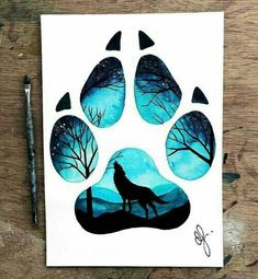 grafika wolf, art, and paws