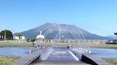 Sakurajima / 噴水越しの桜島
