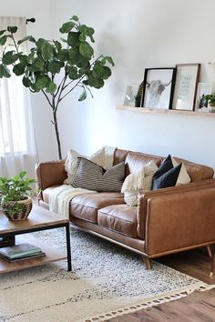 """Timber Charme Tan Sofa - Dascha - Timber Charme Tan Sofa """"The living room is finally almost complete and this sofa is definitely the star of the show."""" The Timber Charme Tan leather sofa will do that. Photo by Lynette Yoder. Boho Living Room, Living Room Sofa, Apartment Living, Home And Living, Modern Living, Living Rooms, Small Living, Cozy Living, Rustic Apartment"""