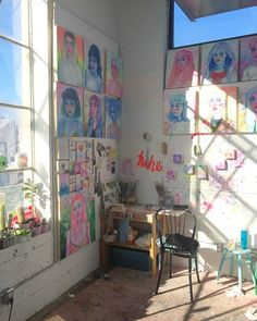 Studio Visit with Shanna Van Maurik: Fictional environments with imagined characters in the 'land of wasted hours' – ArtMaze Mag room art hoe Art Hoe Aesthetic, Aesthetic Room Decor, Aesthetic Grunge, Aesthetic Vintage, Kpop Aesthetic, Indie Room, Room Goals, Room Decor Bedroom, Bedroom Inspo