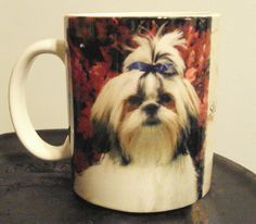 RARE Collectible Coffee Mug Shih Tzu Puppy Toy Dog Lover Cup Blue Bow Pony Tail - Shih Tzu