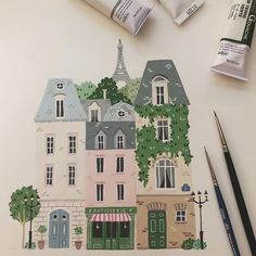Still thinking about adding some details here and there but I'm quite happy about this cute little Paris 💛 gouache painting Building Illustration, House Illustration, Gouache Painting, Painting & Drawing, Painting Inspiration, Art Inspo, Illustration Parisienne, Posca Art, Little Paris