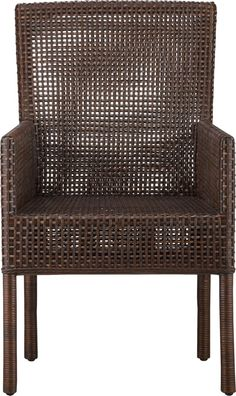 Refined mahogany and rustic rattan take a tropical turn in this woven rendition of our Cabria chair.  Warm auburn stain is finished with a black wash for added character.  Back is curved for comfort; high arms have a sheltering effect. Solid mahogany and rattan chairAuburn brown stain with black washNylon floor protectorsMade in Indonesia.