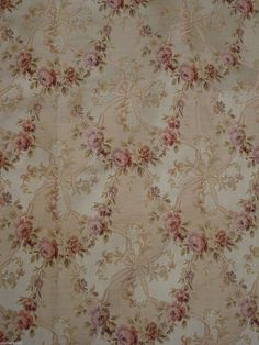 "antique victorian french silk/coton brocade rose garlands 76"" x 50"""