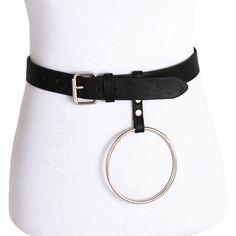 2017 new design black Leather Punk Harajuku Big O Rings Belt Exaggerated  Metal Hoop belt for Men Women Unisex belts 28fae0d35f6