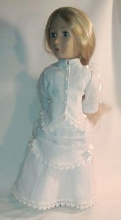 A Girl for all time hand made bustle dress Cotton Lawn Fabric, Cotton Lace, Linen Fabric, Bustle Skirt, White Beads, White Satin, Fitted Bodice, American Girl, Flower Girl Dresses