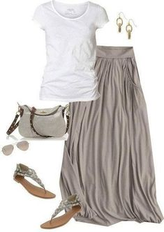 Simple and classic: Gathered taupe maxi skirt, white tee. This will be perfect for China!