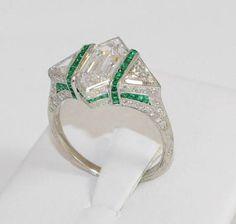 Art Deco Rare 2ct Lozenge Diamond & Emerald Platinum Ring GIA Flawless POT
