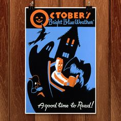 Halloween Library Poster ca. 1940 funded by WPA Wpa Posters, Library Posters, Reading Posters, Book Posters, Travel Posters, Movie Posters, Retro Halloween, Halloween Poster, Halloween Images