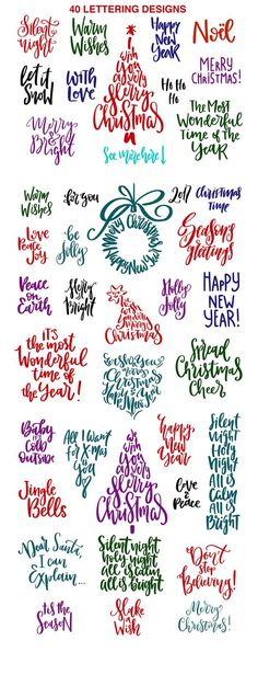 Christmas Lettering Quotes & Clipart - Christmas Lettering Quotes & Clipart by PicByKate on @creativemarket
