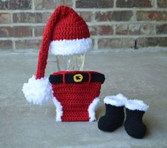 Santa Hat Diaper cover boots , Santa Set newborn photo prop babys first christmas outfit on Etsy, $58.99