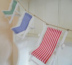 Striped Deck Chair Bunting, Seaside Themed Accent ideal for Beach Wedding Decor or Coastal Home Deco Pottery Barn Style, Fabric Rug, Beach Wedding Decorations, Beach Chairs, Coastal Homes, Rustic Christmas, Home Decor Bedroom, Bunting, Seaside