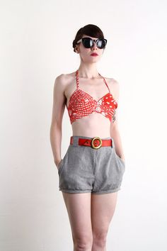 Red Halter Bikini Top . Bullet Bra Bandeau . 1960s Summer Wear