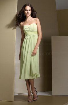 Plain Chiffon Tea Length Zipper Empire Bridesmaid Dress